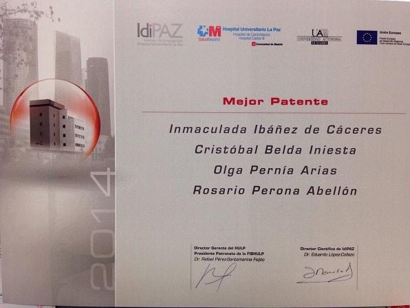 Premio IdiPaz patente cáncer pulmón